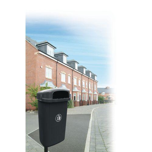 Hooded outdoor bin