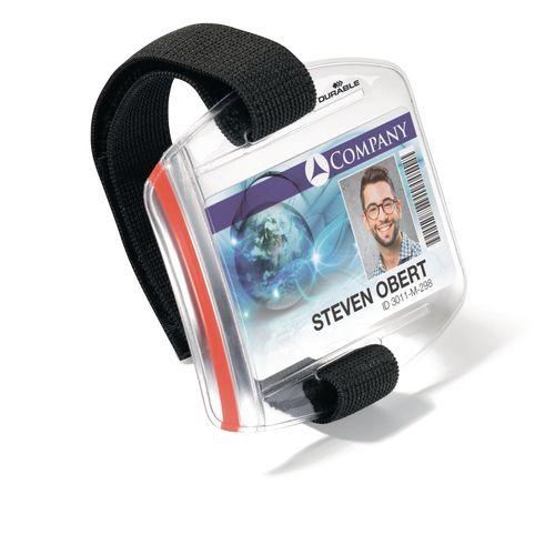 Durable arm band ID badge holder