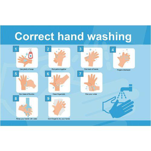 Correct hand washing poster
