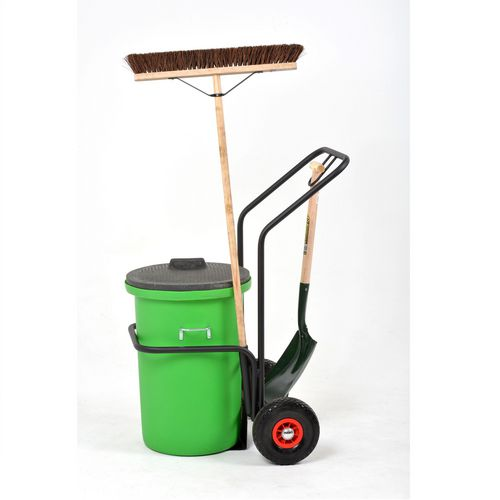 Street cleaning trolley with accessories