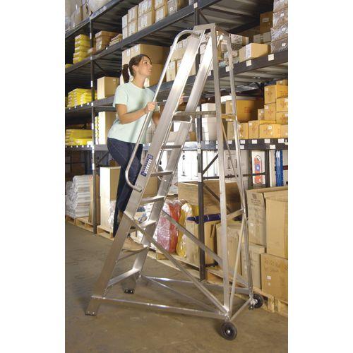 Extra heavy duty aluminium mobile warehouse steps