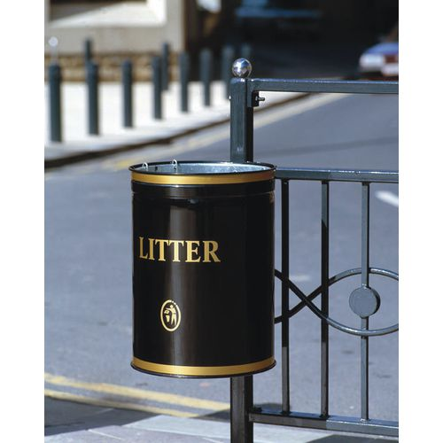 Post / wall mounted open top litter bin