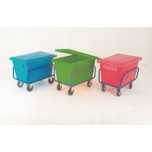 Heavy duty plastic container truck with steel frame