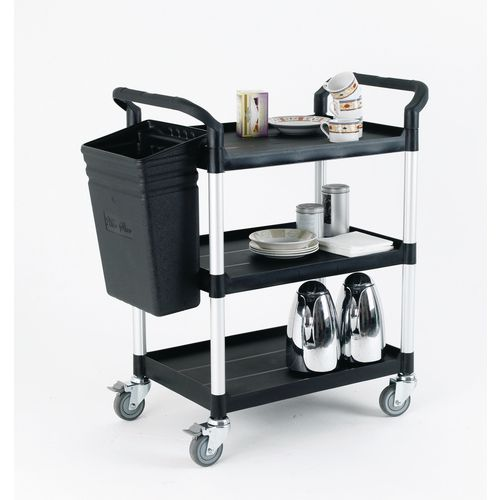 Three tier plastic clearing trolley