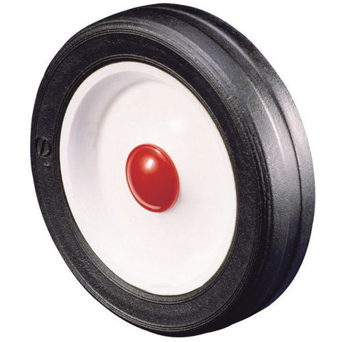Polypropylene centre with rubber tyre