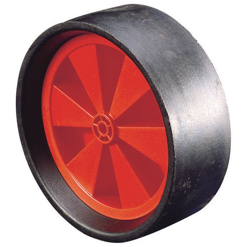 Polypropylene centre with extra wide rubber tyre