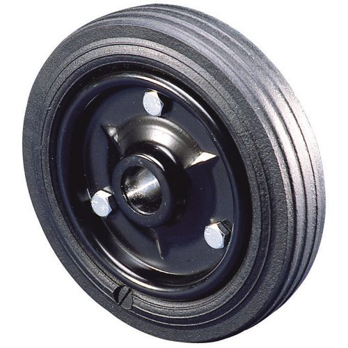 Pressed steel centre with rubber tyre
