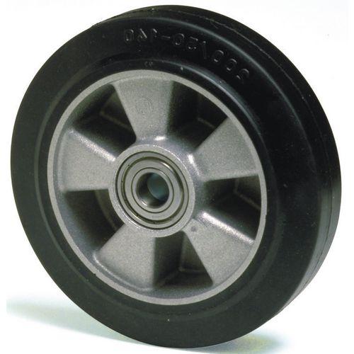 Aluminium centre with black rubber tyre