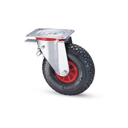 Castors with polypropylene centre, pneumatic tyred wheels - swivel with total-stop brake