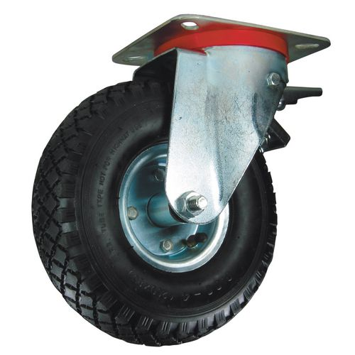 Castors with pressed steel centre, pneumatic tyred wheels - swivel with total-stop brake