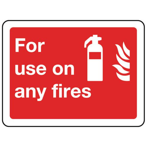 Fire fighting equipment signs - For use on any fires