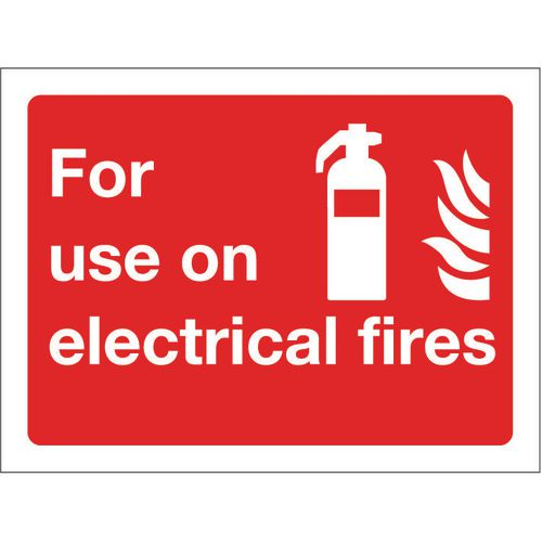 Fire fighting equipment signs - For use on electrical fires