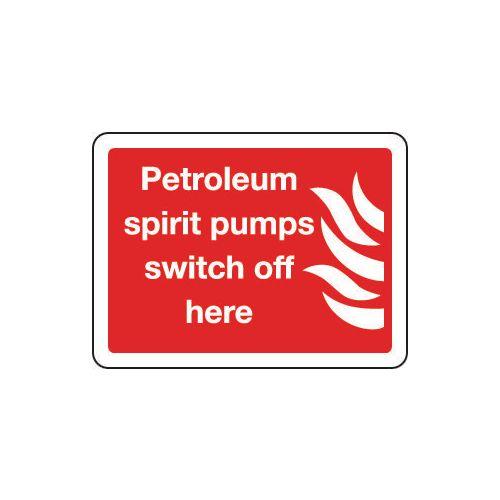 Petroleum spirit pumps switch off here sign