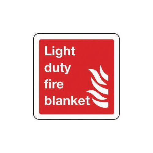 Light duty fire blanket sign