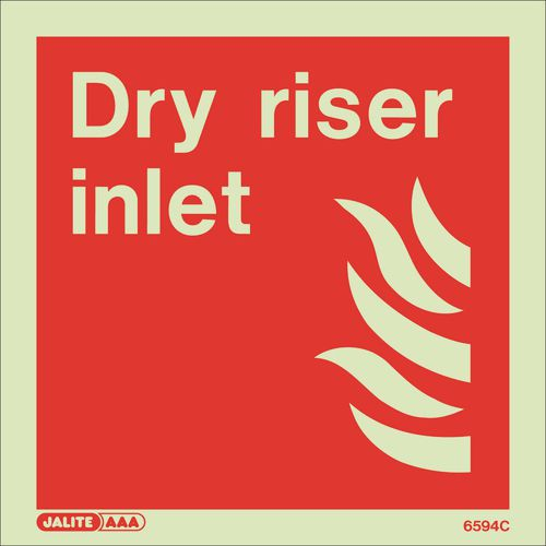Photoluminescent Fire fighting equipment notices - Dry riser inlet