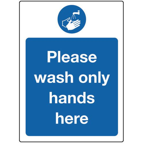 Food processing and hygiene signs - Please wash only hands here