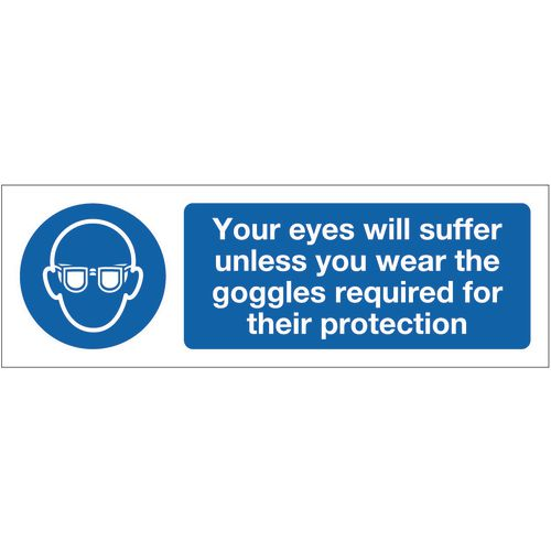 Personal protection signs - Your eyes will suffer unless you wear the goggles required for their protection