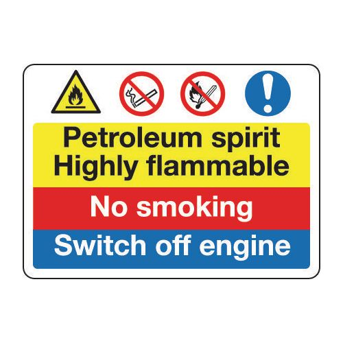Fire prevention signs - Petroleum spirit highly flammable no smoking switch off engine