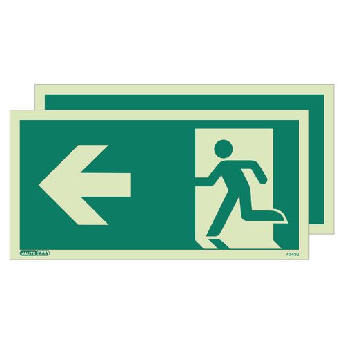 Photoluminescent double sided safety way guidance signs - Arrow left