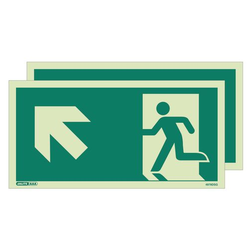 Photoluminescent double sided safety way guidance signs - Arrow up left