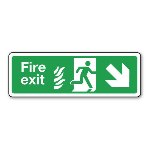 Fire exit signs with flame symbols - Fire exit arrow right down