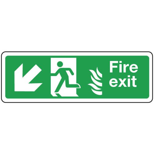 Fire exit signs with flame symbols - Fire exit arrow left down