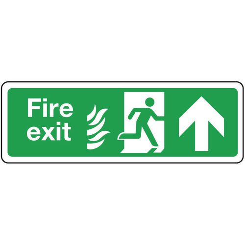 Fire exit signs with flame symbols - Fire exit arrow up