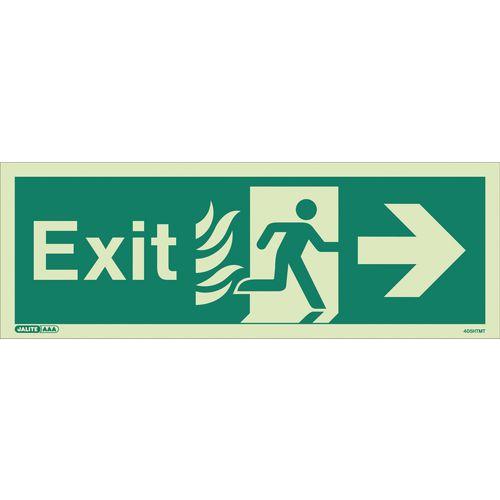 Photoluminescent NHS Estates photoluminescent exit signs - Exit arrow right