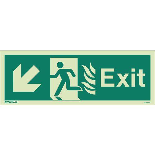 Photoluminescent NHS Estates photoluminescent exit signs - Exit arrow down left