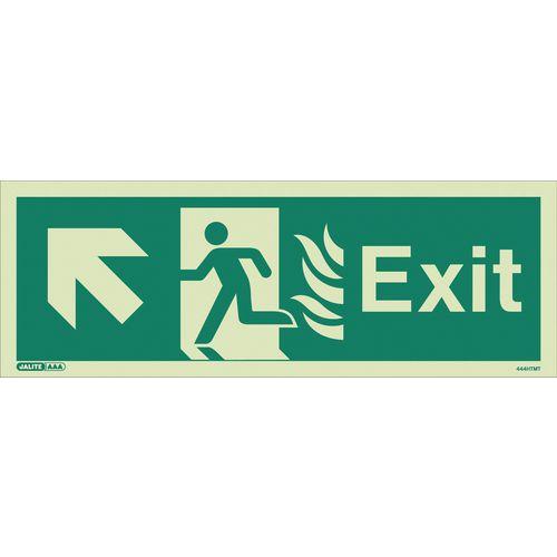 Photoluminescent NHS Estates photoluminescent exit signs - Exit arrow up left