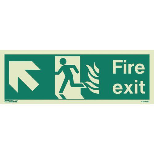 Photoluminescent NHS HTM 65 - Fire exit arrow up left