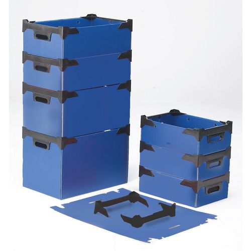 Stackable corrugated polypropylene boxes