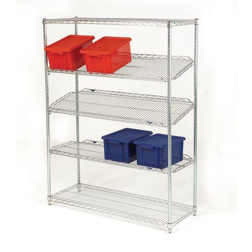 Qwikslot zinc chrome plated shelving units - 5 shelf levels, height 1895mm