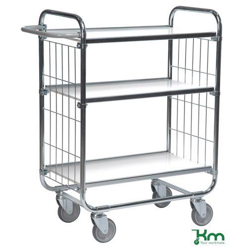 Konga order picking trolleys with adjustable shelves and mesh ends