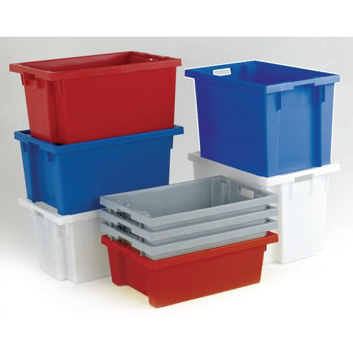 Solid side stack and nest containers