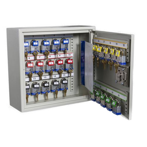 High security key cabinet for large bunches and padlocks