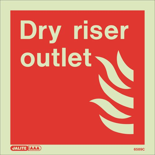 Photoluminescent Fire fighting equipment notices - Dry riser outlet