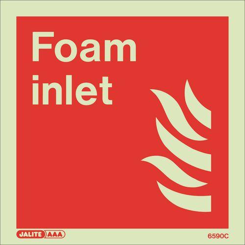 Photoluminescent Fire fighting equipment notices - Foam inlet
