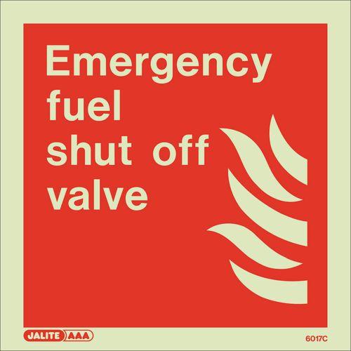 Photoluminescent Fire fighting equipment notices - Emergency fuel shut off valve