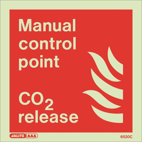 Photoluminescent Fire fighting equipment notices - Manual control point