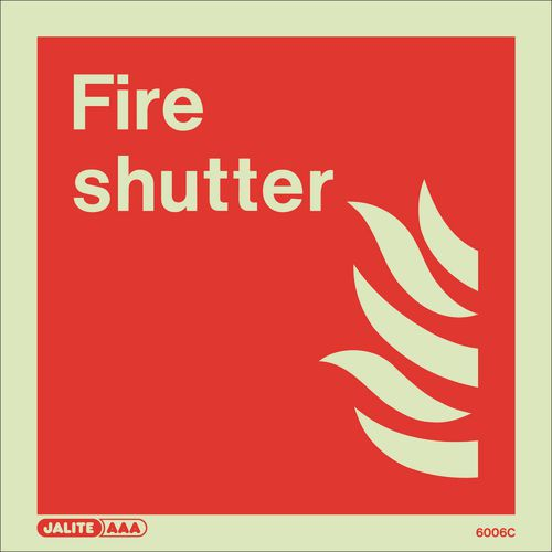 Photoluminescent Fire fighting equipment notices - Fore shutter