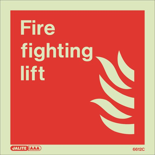 Photoluminescent Fire fighting equipment notices - Fire fighting lift