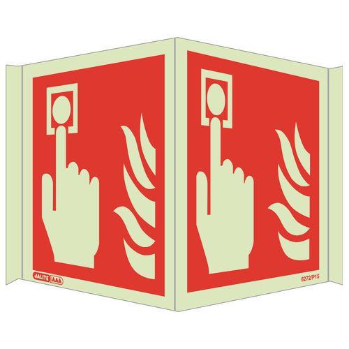Photoluminescent Fire alarm location sign - Panoramic