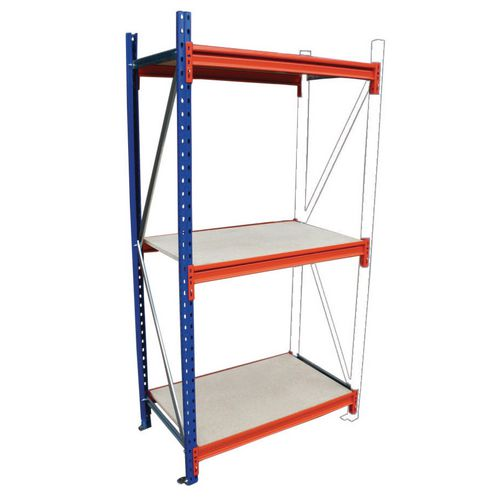 Heavy duty wide span racking with chipboard shelves - 500kg - Add on bays with chipboard shelves