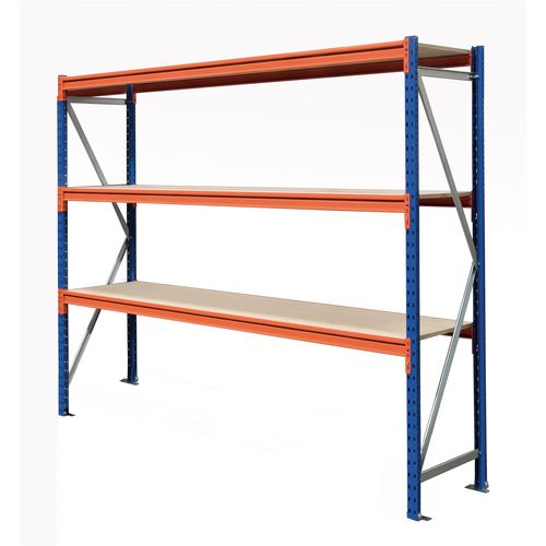 Heavy duty wide span racking with chipboard shelves - 500kg - Starter bays with chipboard shelves