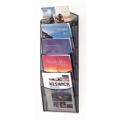 Wall mounted mesh brochure dispenser