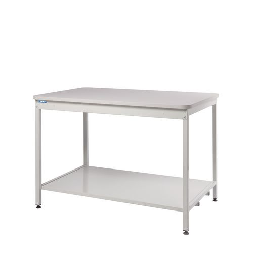 Bench with open storage, with lower shelf
