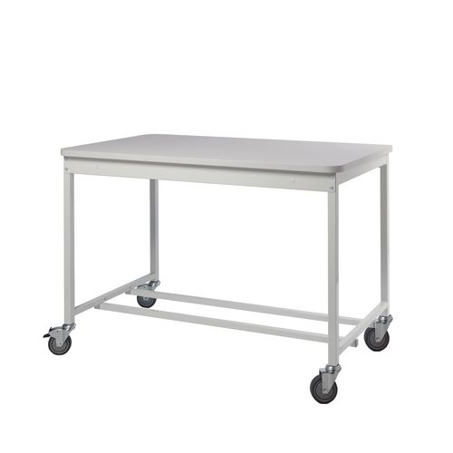 Bench with open storage, no lower shelf - mobile