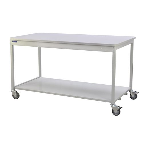Bench with open storage, with lower shelf - mobile
