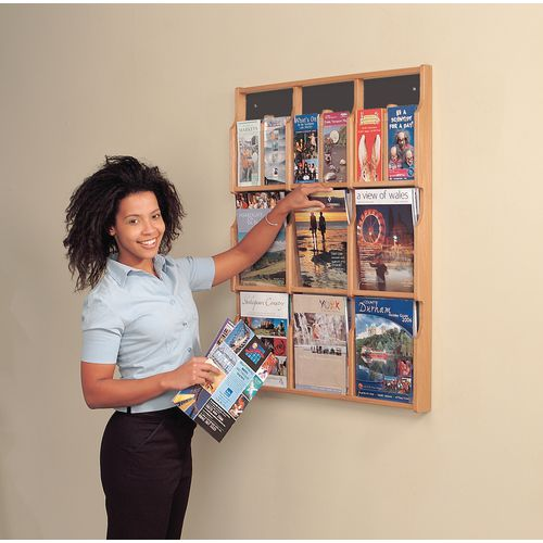 Wall mounted wood literature display